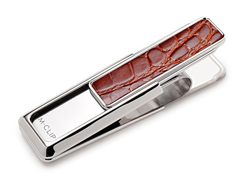 (M-Clip Monterey Rhodium Finish With Genuine Cognac Alligator Inlay Money Clip (MO-PRP-CGAL))
