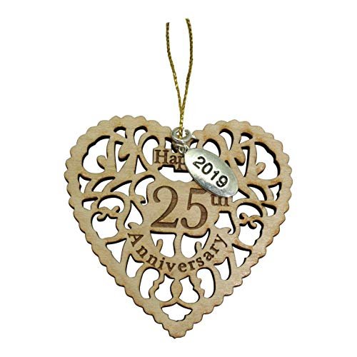 (Twisted Anchor Trading Co 25th Wedding Anniversary Ornament 2019 - Heart Shaped Happy Anniversary Ornament - Beautiful Laser Cut Wood Detail - Comes in a Pretty Organza Gift Bag so it's Ready to give)