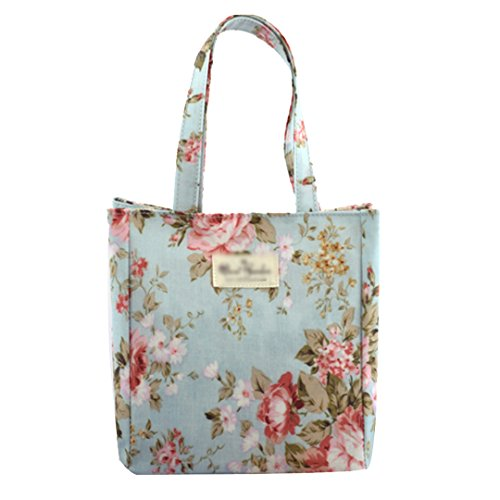 LABANCA Women's Waterproof Tote Bag Printing Shoulder Bag Floral Lunch Bag Color Blue Size Small
