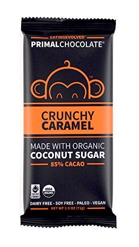 eatingEVOLVED - Organic Primal Chocolate, Crunchy Caramel, 85% Cacao, 2.5 oz Bar (8 count)