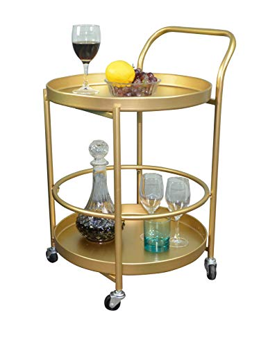 AOJEZOR Serving Cart,Side End Sofa Table,Shelf Organizer Roller Coaster,Bathroom Storage Utility,Circle Wine bar,Cocktail w/4 Wheels,Modern Design for Home Decor/Living Room/Kitchen,Gold