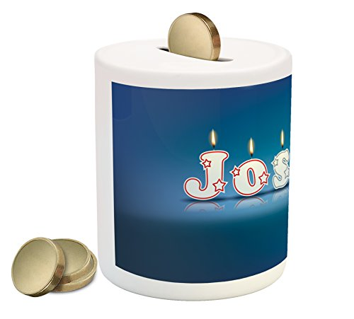 Ambesonne Joshua Coin Box Bank, Festive Font Design as Burning Candles Surprise Birthday Party Celebration, Printed Ceramic Coin Bank Money Box for Cash Saving, Blue and Multicolor by Ambesonne