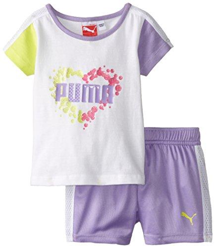PUMA Girls' Toddler Tee and Short Set, White ()
