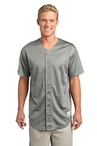 (Sport-Tek Men's PosiCharge Tough Mesh Full Button Jersey XL Silver)