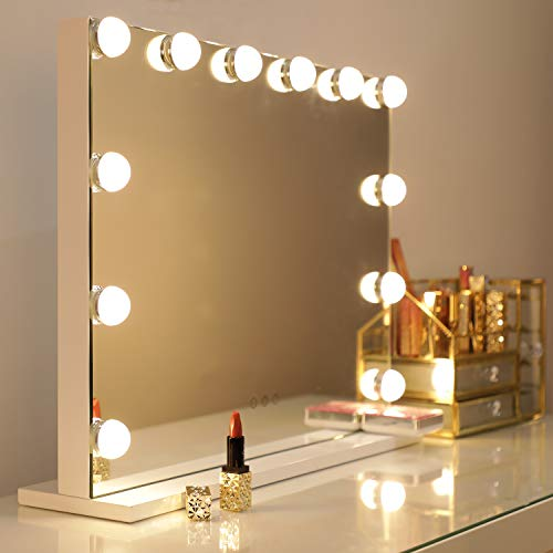 WAYKING Makeup Mirror with Lights, Hollywood Lighted Vanity Mirror with Touch Screen Dimmer, Large Tabletop Mirror with USB Charging Port, Adjustable 3 Color Lighting, White (L22.83 x H17.32 inch) ... (Makeup Vanity Glass Mirror)
