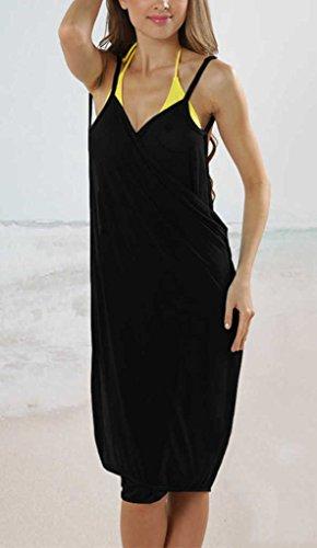 Sidefeel Women's Strap Backless Bikini Beach Wrap Cover Up One Size Black