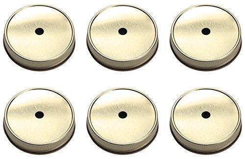 Mason Jar Straw Lids Set of 6 (Regular, Silver)