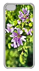 Customized iphone 5C PC Transparent Case - Violet Summer Flowers Personalized Cover