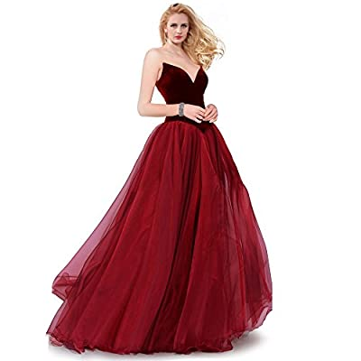 SUMINTRAS Strapless Lace-Up Back Velvet Top Organza Tiered Skirt Ball Gown For Prom