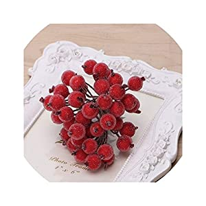 40pcs Mini Fake Fruit Glass Berries Artificial Pomegranate red Cherry Bouquet Stamen Christmas Decorative Double Heads 89