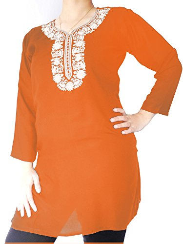 Linen Top with White Floral Embroidery (Orange, 1X)