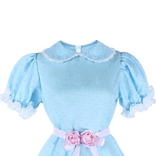 Women's Sweet Lolita Dress Blue Cotton Bow Puff Skirts Halloween Costumes by Nuoqi (Image #4)
