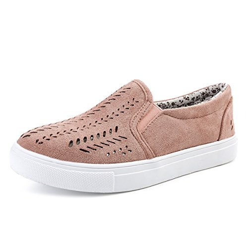 gracosy Women's Canvas Shoes, Ladies's Slip On Shoes Breathable Hollow Out Flat Loafer Shoes Comfortable Outdoor Sports Running Camping Sneakers Casual Walking Shoes Trainer Shoes Pink