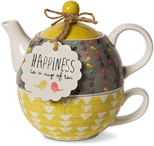Pavilion Gift Company 74070 Bloom Happiness Ceramic Tea for One, 15 oz, Multicolor (Lovers Set Tea Gift)