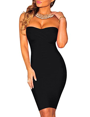 Fbeauty Women's Strapless Bandage Cocktail Bodycon Dresses FB15258 (XL, Black)