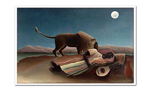 - ArtsyCanvas The Sleeping Gypsy - Henri Rousseau - 24x16 Matte Poster Print Wall Art