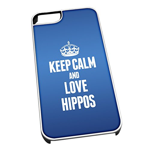 Bianco cover per iPhone 5/5S, blu 2437Keep Calm and Love Hippos