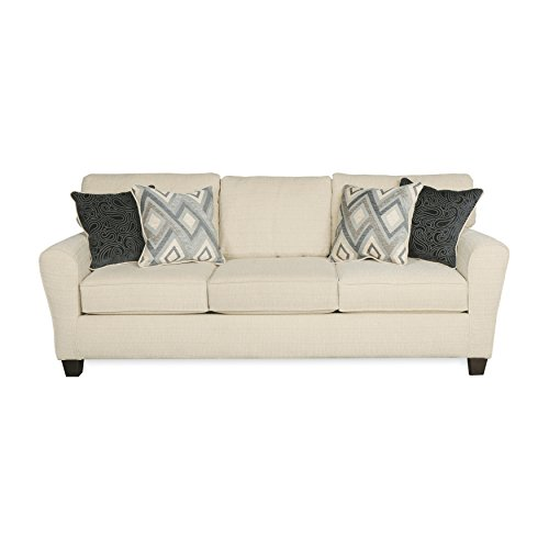 "ExceptionalSheets Dynasty Cream Living Room Sofa with Accent Throw Pillows | Upholstered Fabric Casual Couch, Size of 81""x36""x37"" Assembled Review"