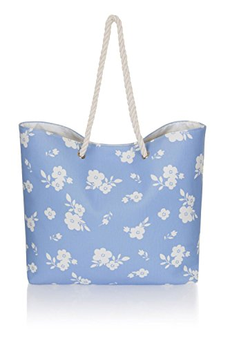 Varioues Large Styles Ladies Blue Canvas Flowers Summer Shopping Tote Beach Bag Uw0xZHwq