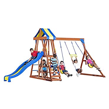 Backyard Discovery Yukon III All Cedar Wood Playset Swing Set