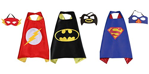 [Athena Superheroes Dress Up 3 Satin Capes and 3 Felt Masks Gift Box Included] (Heroes And Villains Dress Up)