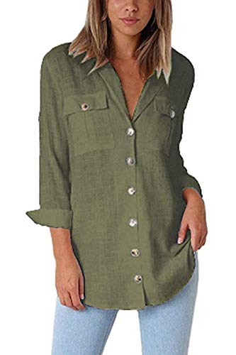Womens V Neck Button Down Shirts Pocket Long Sleeve Blouse Military Utility Tops ()