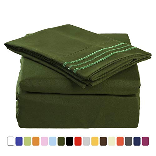 MEROUS Queen Size Bed Sheet Set - 4 Piece - Deep Pockets- Easy Fit - Soft -Brushed Microfiber Bedding Sheets - Wrinkle, Fade, Stain Resistant - Queen, Olive Green - Microfiber Olive Green