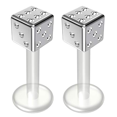 Bioplast Barbell Replacement (2pc 14g Bioflex Labret Surgical 14 Gauge 8mm Bioplast Cute Dice Monroe Piercing Jewelry Lip Studs)
