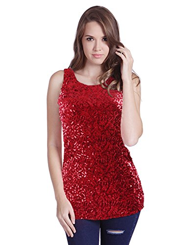 HDE Women's Shiny Sequin Tank Top Embellished Sparkly Sleeveless Party Shirt (X-Large, (Sparkly Red Top)