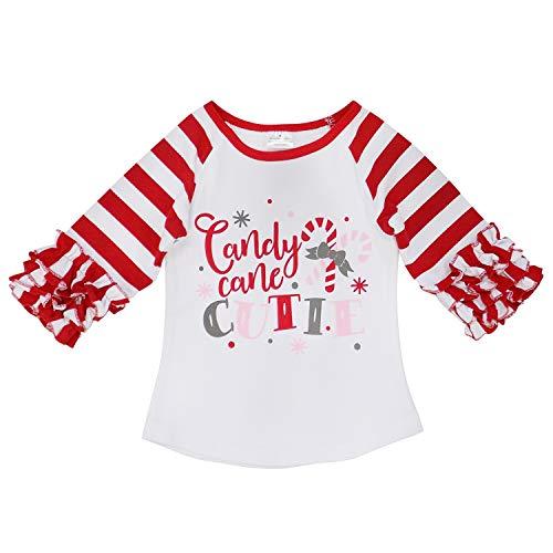 So Sydney Toddler & Girl Fall & Winter Holiday Sparkle Ruffle Raglan T-Shirt (XS (2T), Candy Cane Cutie) -