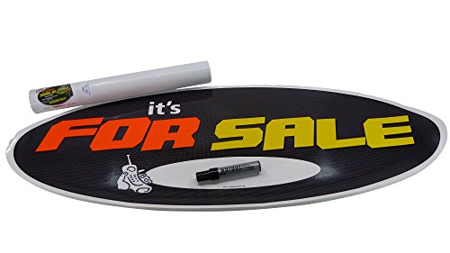 Visimax Statix JUMBO Size (1 sign+pen KIT) IT'S FOR SALE Decal Sign, HIGH IMPACT FLUORESCENT VISIBILITY For Sale Sign - Attach To INTERIOR/EXTERIOR Of Window Or Flat Panel