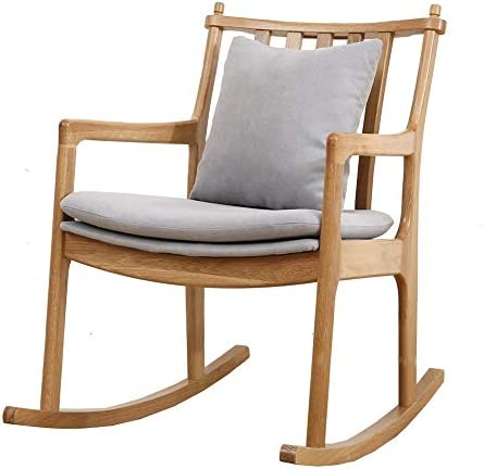 揺り椅子 リラックスロッキングチェアラウンジチェア現代ホームオフィス用家具リクライニングロッキングチェア 寝室 オフィス (Color : Gray, Size : 82.5x80x56cm)