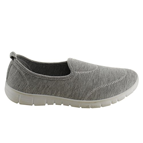 gris Refresh 05 Sole Grey Flats 's 6 Fabric Jump Soft Women Vamp Sport Rubber qOSFgw