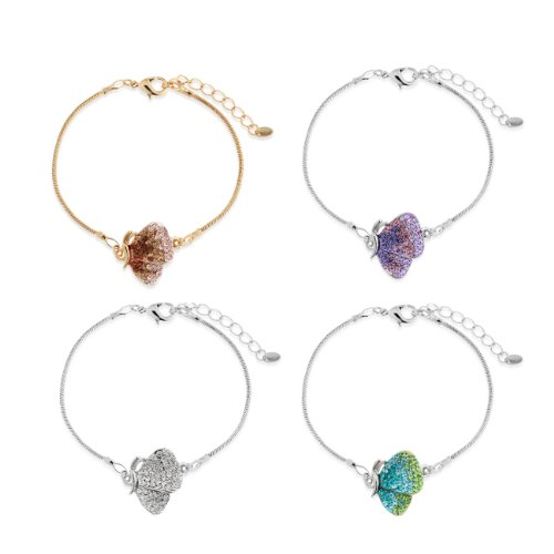 Crystal Butterfly & Wings Charm Costume Jewellery Bracelet - Pink, Janeo Bangles & (Butterfly Wings Costume Diy)