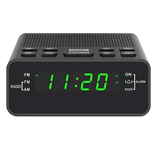Alarm Clock, Digital Alarm Clock Radio with AM/FM Radio, Sleep Timer, Dimmer, Snooze and 0.6