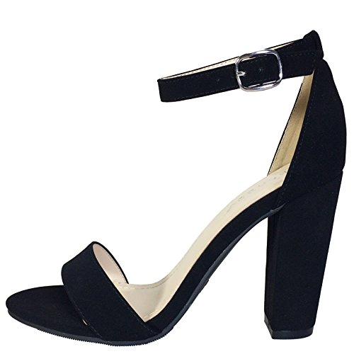 Pictures of BAMBOO Women's Single Band Chunky Heel black 4