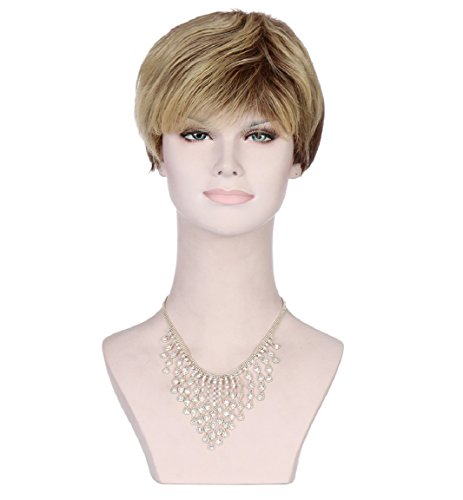 Western Inclined Bang Short Straight Wigs, Stylish Sexy Women's Mix Blonde Wigs ()