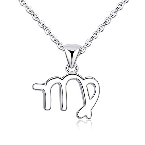 Elefezar Zodiac Necklace 12 Constellation Charm Horoscope Astrology Silver Plated Copper Chain (Virgo)