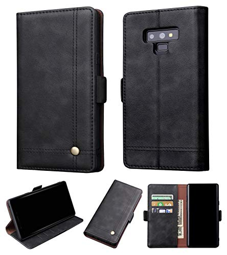 Galaxy Note 9 Wallet Case - Leather Case with ID Card Holder Flip Cover for Samsung Galaxy Note 9 Phone Black