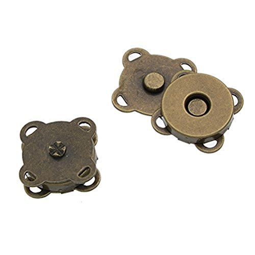 Tinksky 10 Sets of 15mm Sew In Magnetic Bag Clasps for Sewing Craft Clothing Bag Scrapbooking (Bronze)