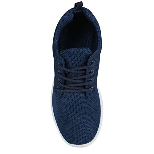 Damen Sportschuhe Übergrößen Trendfarben Runners Sneakers Laufschuhe Fitness Prints Flandell Dunkelblau Blau Weiss