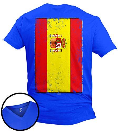 (Distressed Spain Flag - Spanish Latino Unisex V-Neck T-Shirt (Royal - Back Print, X-Large))