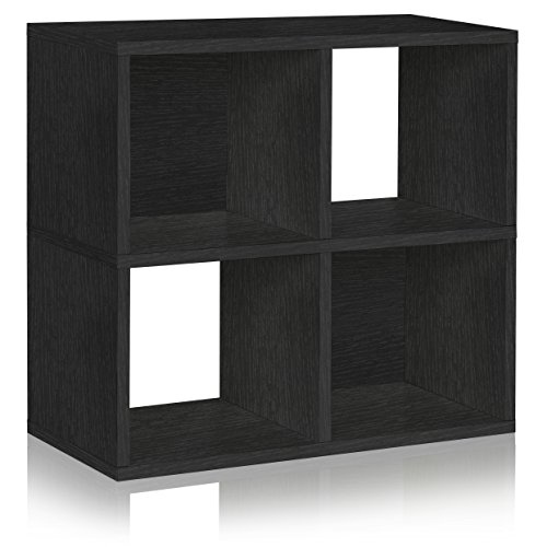 Way Basics Eco 4 Cubby Bookcase, Stackable Organizer and Storage Shelf, Black Wood Grain (Tool-Free Assembly and Uniquely Crafted from Sustainable Non Toxic zBoard paperboard)