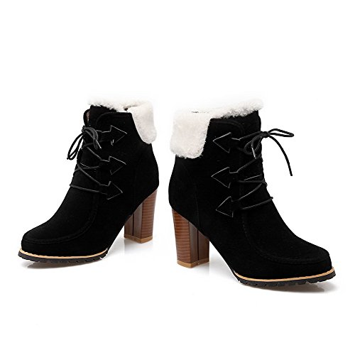 Up Round Frosted Closed Black Lace Boots Toe AmoonyFashion Women's Solid High Heels qwzxapzZ
