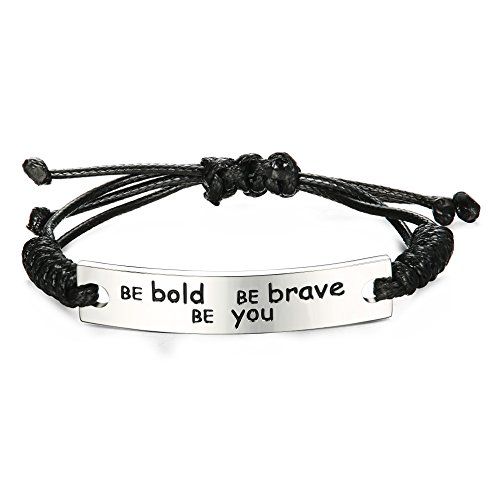 LOYALLOOK Be Bold Be Brave Be You Inspirational Bracelet Handmade Wristbands for Boys Girls Graduation Gift