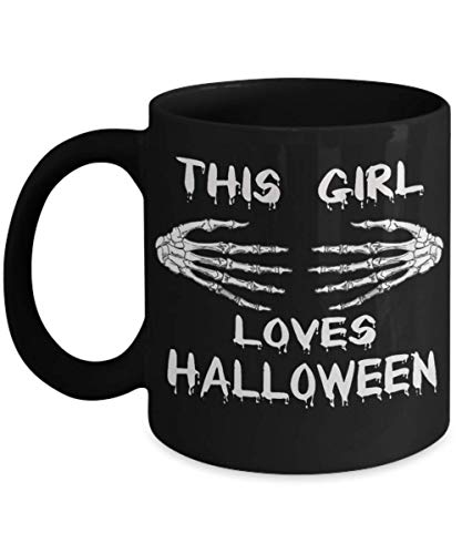 This Girl Loves Halloween Mug, This Girl Loves Zombies Halloween Costume Mug, As a lover of Halloween, you know that this will be the perfect gift ide]()