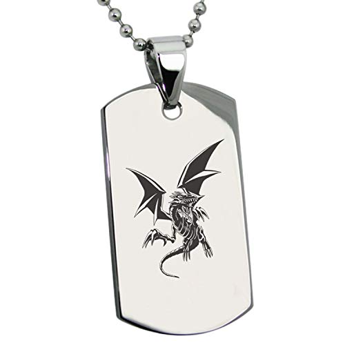 (Tioneer Yu-Gi-Oh! Blue-Eyes White Dragon Full Body Stainless Steel Dog Tag Pendant Necklace)