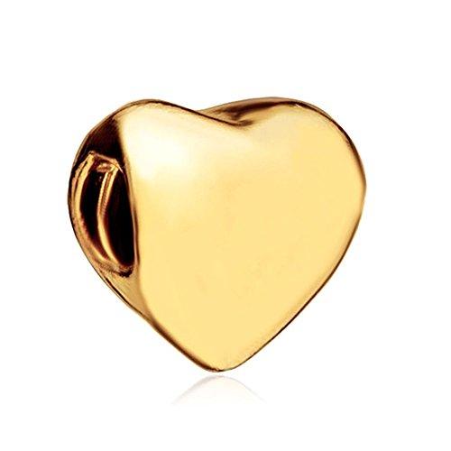 LovelyJewelry 22k Golden Heart European Gifts For Mother Charm For Bead Bracelet