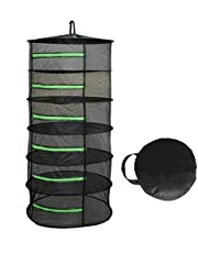 Langroup Herb Drying Rack Net Dryer 6 Layer 2ft Black Collapsible Round Mesh Hanging Drying Rack with Green Zippers Opening for Garden Outdoor Hanging and Drying Hydroponic Plants(Free Hook Included)