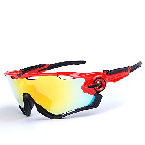HYHMJ Bicycle Goggles, Motorcycle Goggles Ski Mirror Sunglasses Five Pieces of Outdoor Polarized Anti-Fog Riding Glasses Convertible Lenses,B